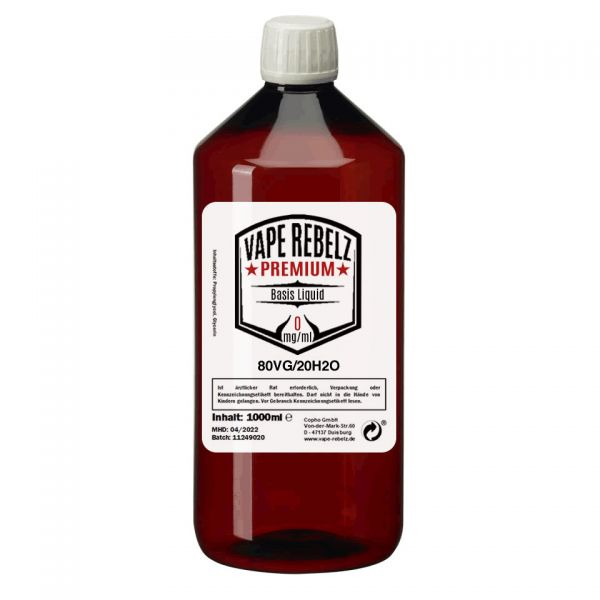 Glycerin / H2O (0:80:20) Basis Liquid by Vape Rebelz® 1000ml